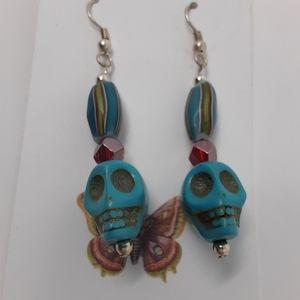 Refresh by Midori Jewelry - Handmade Skull Earrings With Repurposed Beads